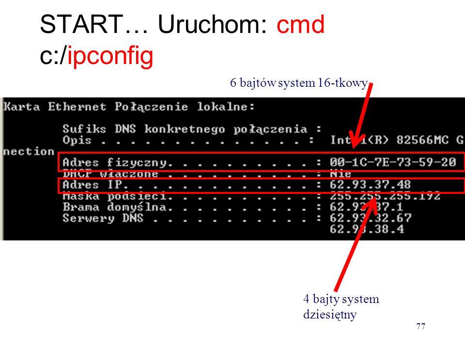 Adres IP - logiczny adres logiczny nadawany w zależności od tego do jakiej sieci zostało podłączone dane urządzenie sieciowe IP 66.93.38.223 76