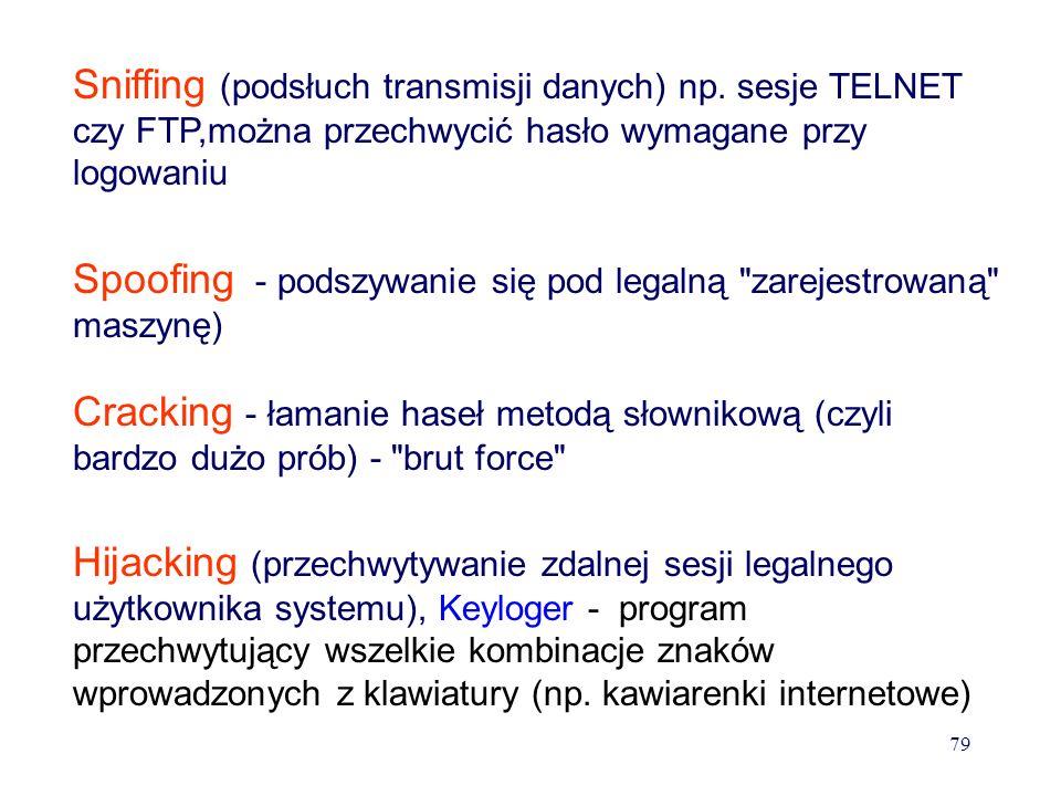 Bezpieczeństwo w sieci -dostęp do przechowywanych danych (odtajnienie, podmiana-fałszerstwo, utrata) -dostęp do transmitowanych danych – odtajnienie,