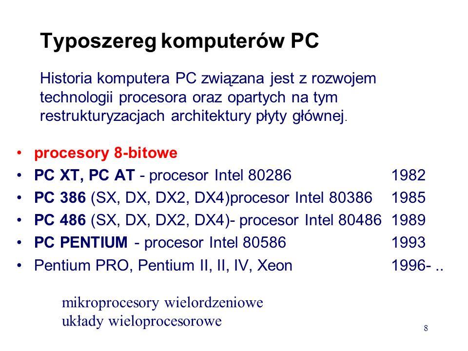 Podział komputerów ze względu na wielkość i zdolność obliczeniową: Małe komputery: miniaturyzacja (laptop, notebook, palmtop, pentop) Komputery osobiste typu IBM Inne komputery osobiste - Amiga, SUN, MacIntosh Stacje robocze (Workstations) - wysokowydajne procesory w architekturze RISC, praca wielozadaniowa (równoczesne wykonywanie wielu programów), wieloprocesorowe.