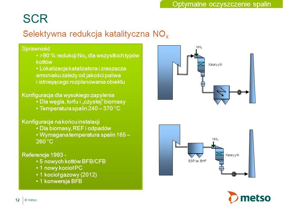 © Metso SCR Selektywna redukcja katalityczna NO x 12 Sprawność >90 % redukcji No x dla wszystkich typów kotłów Lokalizacja katalizatora i zraszacza amoniaku zależy od jakości paliwa i istniejącego rozplanowania obiektu Konfiguracja dla wysokiego zapylenia Dla węgla, torfu i czystej biomasy Temperatura spalin 240 – 370 °C Konfiguracja na końcu instalacji Dla biomasy, REF i odpadów Wymagana temperatura spalin 165 – 260 °C Referencje 1993 - 5 nowych kotłów BFB/CFB 1 nowy kocioł PC 1 kocioł gazowy (2012) 1 konwersja BFB NH 3 Katalyytti NH 3 ESP tai BHF Optymalne oczyszczenie spalin