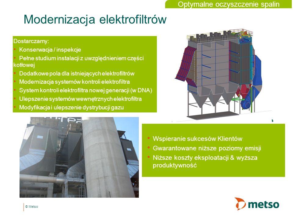 © Metso Modernizacja elektrofiltrów Dostarczamy: Konserwacja / inspekcje Pełne studium instalacji z uwzględnieniem części kotłowej Dodatkowe pola dla