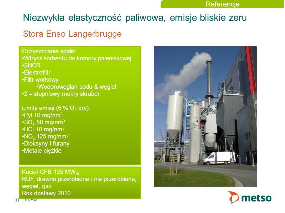 © Metso Niezwykła elastyczność paliwowa, emisje bliskie zeru Stora Enso Langerbrugge 17 Referencje Oczyszczanie spalin Wtrysk sorbentu do komory paleniskowej SNCR Elektrofiltr Filtr workowy Wodorowęglan sodu & węgiel 2 – stopniowy mokry skruber Limity emisji (6 % O 2 dry): Pył 10 mg/nm 3 SO 2 50 mg/nm 3 HCl 10 mg/nm 3 NO x 125 mg/nm 3 Dioksyny i furany Metale ciężkie Kocioł CFB 125 MW th RDF, drewno przerobione i nie przerobione, węgiel, gaz Rok dostawy 2010
