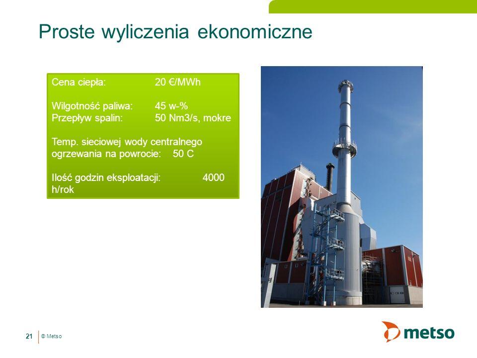 © Metso Proste wyliczenia ekonomiczne 21 Cena ciepła: 20 /MWh Wilgotność paliwa: 45 w-% Przepływ spalin: 50 Nm3/s, mokre Temp.