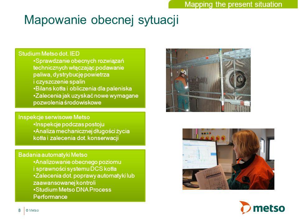 © Metso Mapowanie obecnej sytuacji 8 Inspekcje serwisowe Metso Inspekcje podczas postoju Analiza mechanicznej długości życia kotła i zalecenia dot.