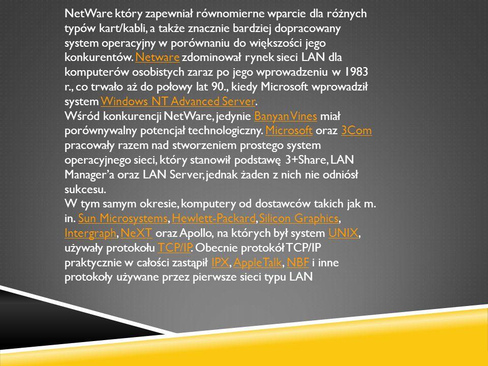 NetWare który zapewniał równomierne wparcie dla różnych typów kart/kabli, a także znacznie bardziej dopracowany system operacyjny w porównaniu do więk