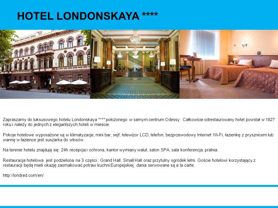 Zapraszamy do luksusowego hotelu Londonskaya **** położonego w samym centrum Odessy. Całkowicie odrestaurowany hotel powstał w 1827 roku i należy do j