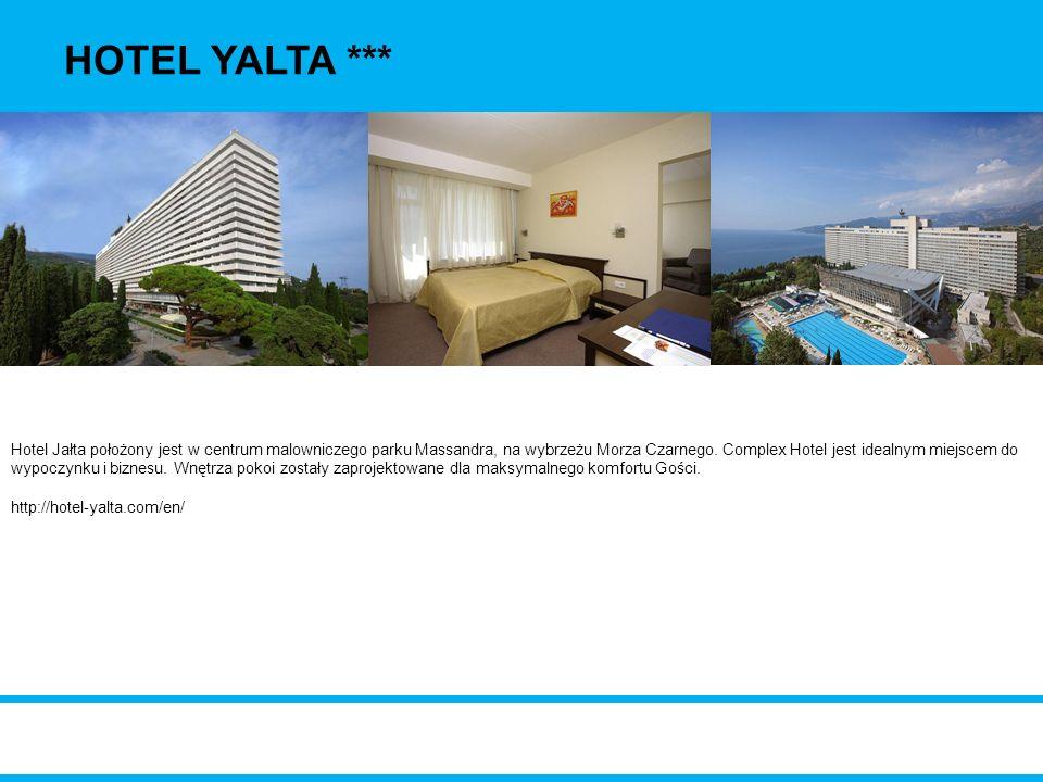 Hotel Jałta położony jest w centrum malowniczego parku Massandra, na wybrzeżu Morza Czarnego. Complex Hotel jest idealnym miejscem do wypoczynku i biz