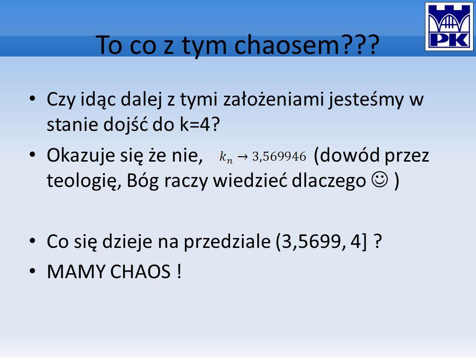 To co z tym chaosem??? Czy idąc dalej z tymi założeniami jesteśmy w stanie dojść do k=4? Okazuje się że nie, (dowód przez teologię, Bóg raczy wiedzieć