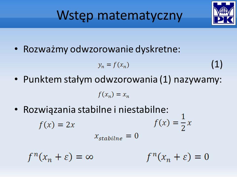 Wstęp matematyczny Rozważmy odwzorowanie dyskretne: (1) Punktem stałym odwzorowania (1) nazywamy: Rozwiązania stabilne i niestabilne:
