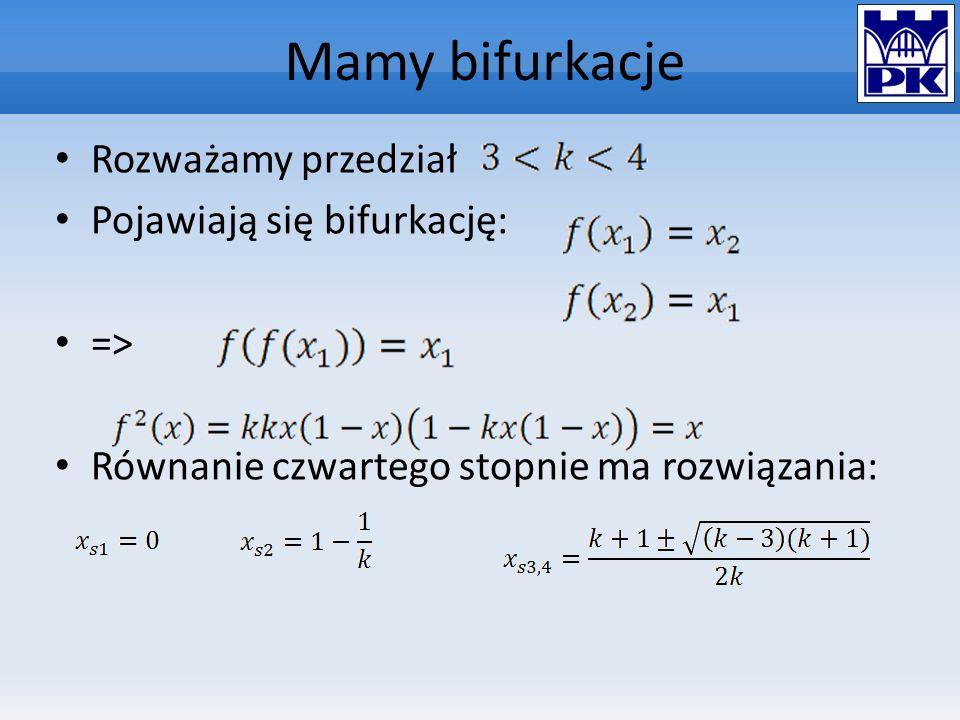Mamy bifurkacje Rozważamy przedział Pojawiają się bifurkację: => Równanie czwartego stopnie ma rozwiązania: