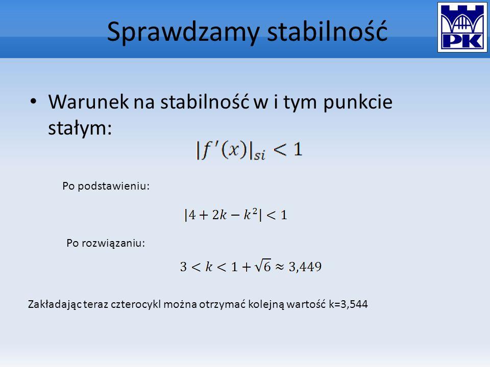 Sprawdzamy stabilność Warunek na stabilność w i tym punkcie stałym: Po podstawieniu: Po rozwiązaniu: Zakładając teraz czterocykl można otrzymać kolejn