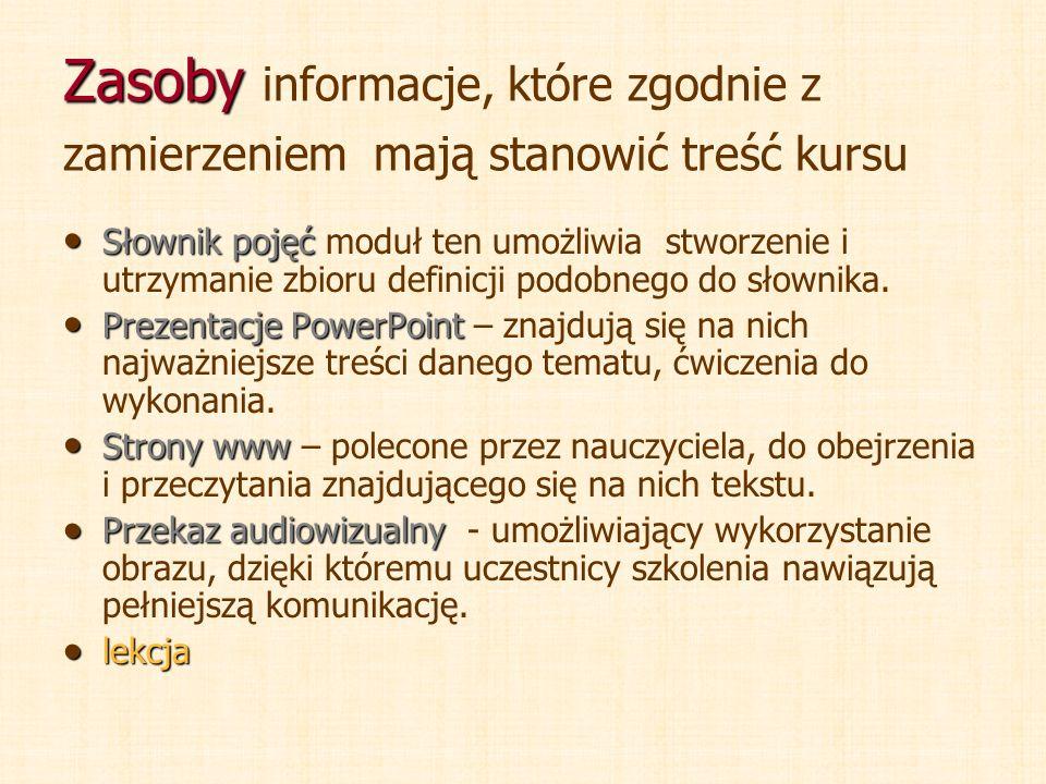 Zasoby Zasoby informacje, które zgodnie z zamierzeniem mają stanowić treść kursu Słownik pojęć Słownik pojęć moduł ten umożliwia stworzenie i utrzyman