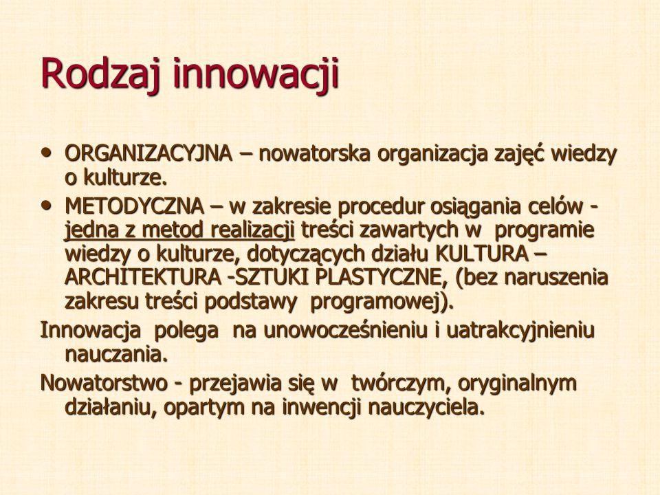 Rodzaj innowacji ORGANIZACYJNA – nowatorska organizacja zajęć wiedzy o kulturze. ORGANIZACYJNA – nowatorska organizacja zajęć wiedzy o kulturze. METOD