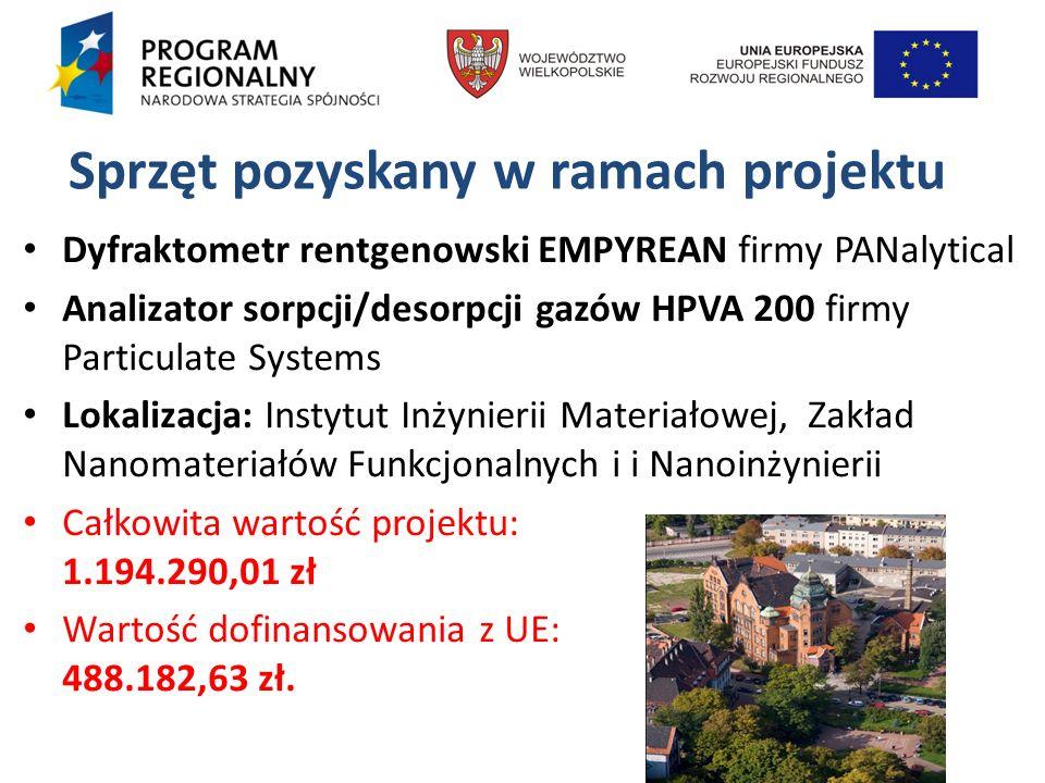 Sprzęt pozyskany w ramach projektu Dyfraktometr rentgenowski EMPYREAN firmy PANalytical Analizator sorpcji/desorpcji gazów HPVA 200 firmy Particulate