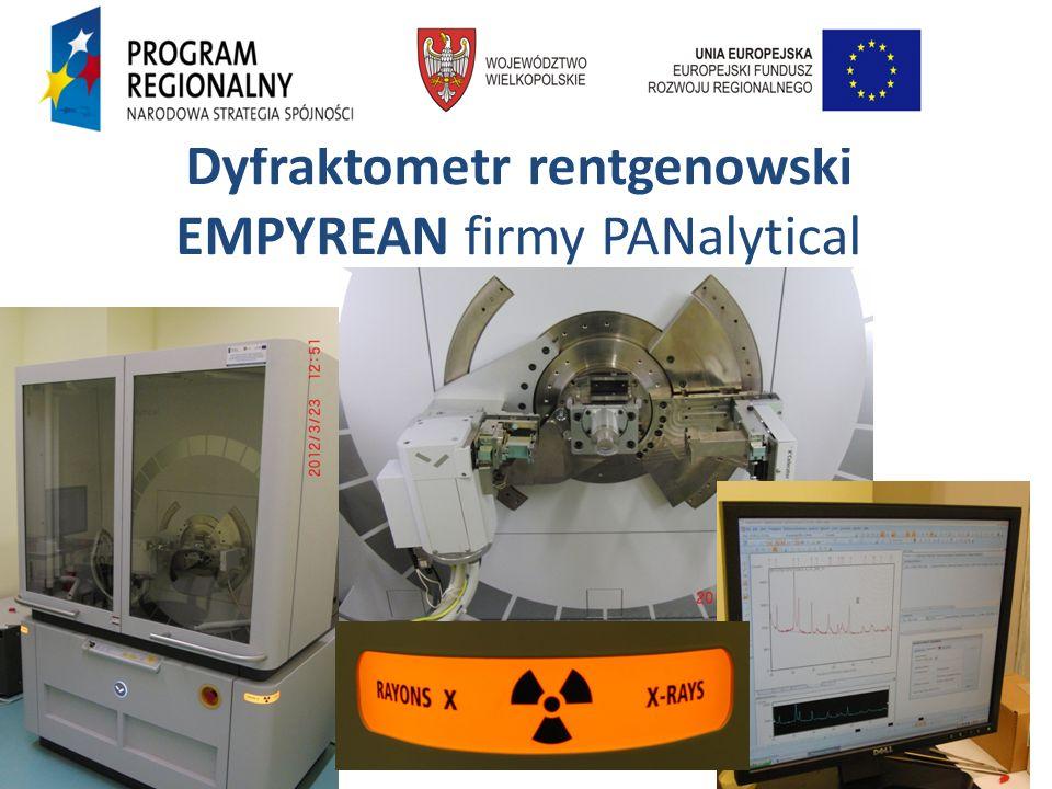 DYFRAKTOMETR RENTGENOWSKI EMPYREAN firmy PANalytical, umożliwia: Analizę strukturalną materiałów Analizę fazową materiałów Analizę ilościową faz Analizę jakościową faz Badania porów i nanocząstek w zakresie niskokątowym metodą SAXS