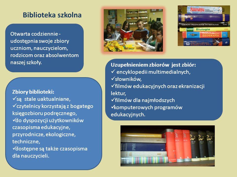 Biblioteka szkolna Otwarta codziennie - udostępnia swoje zbiory uczniom, nauczycielom, rodzicom oraz absolwentom naszej szkoły.