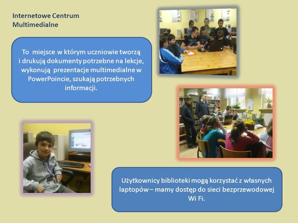 Internetowe Centrum Multimedialne Od 2006 roku funkcjonuje w bibliotece Internetowe Centrum Multimedialne. Użytkownicy mają do dyspozycji cztery stano