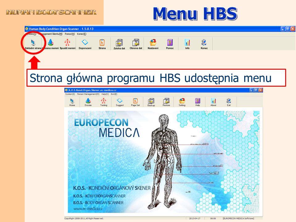 Strona główna programu HBS udostępnia menu