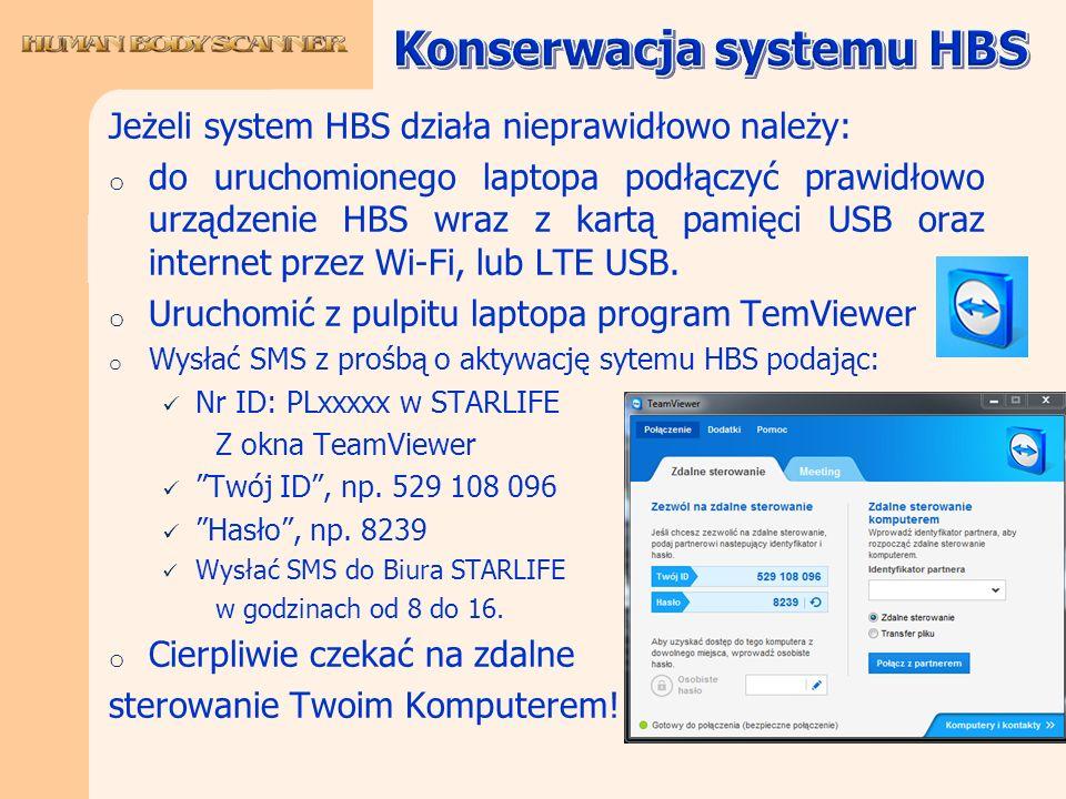 Jeżeli system HBS działa nieprawidłowo należy: o do uruchomionego laptopa podłączyć prawidłowo urządzenie HBS wraz z kartą pamięci USB oraz internet p