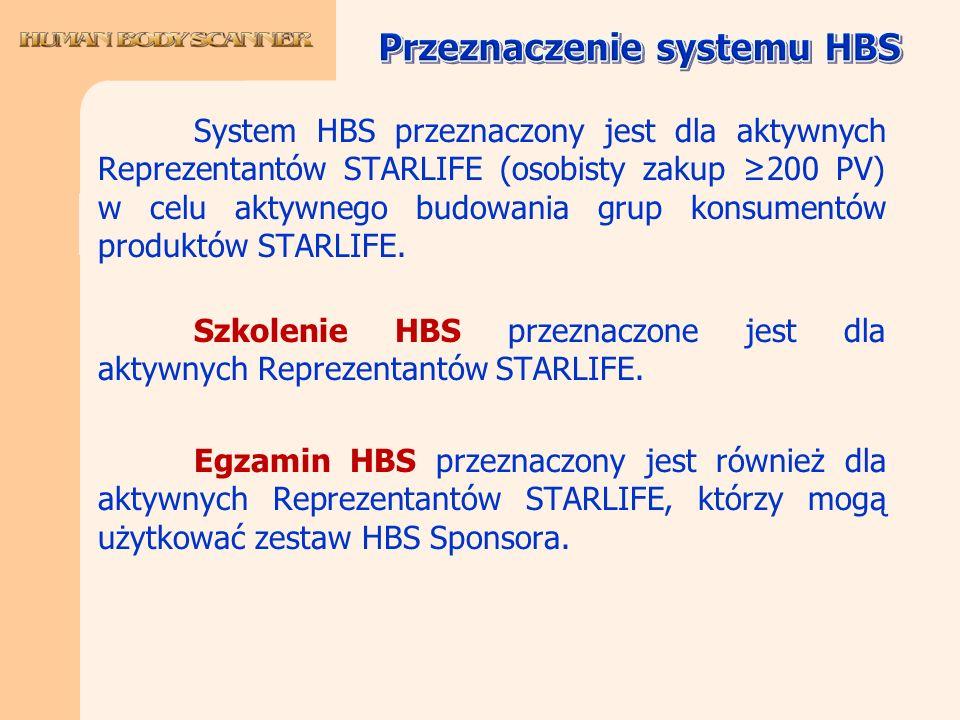 System HBS przeznaczony jest dla aktywnych Reprezentantów STARLIFE (osobisty zakup 200 PV) w celu aktywnego budowania grup konsumentów produktów STARL
