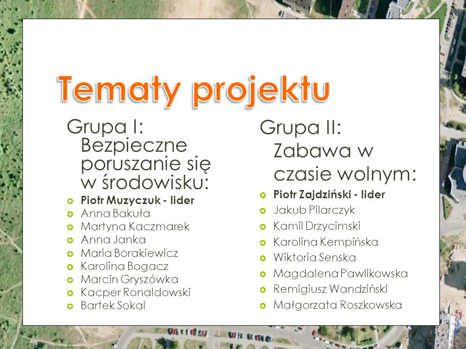 Grupa II: Zabawa w czasie wolnym: Piotr Zajdziński - lider Jakub Pilarczyk Kamil Drzycimski Karolina Kempińska Wiktoria Senska Magdalena Pawlikowska R
