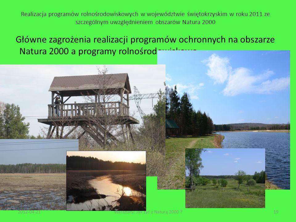 Realizacja programów rolnośrodowiskowych w województwie świętokrzyskim w roku 2011 ze szczególnym uwzględnieniem obszarów Natura 2000 Główne zagrożeni