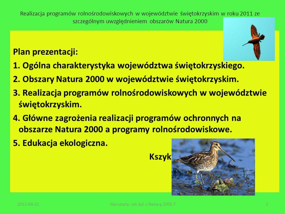 Realizacja programów rolnośrodowiskowych w województwie świętokrzyskim w roku 2011 ze szczególnym uwzględnieniem obszarów Natura 2000 Obszary Natura 2000 to problemy zagospodarowania biomasy z łąk i terenów zakrzaczonych i lesnych 2012-04-2123Warsztaty: Jak żyć z Naturą 2000 ?