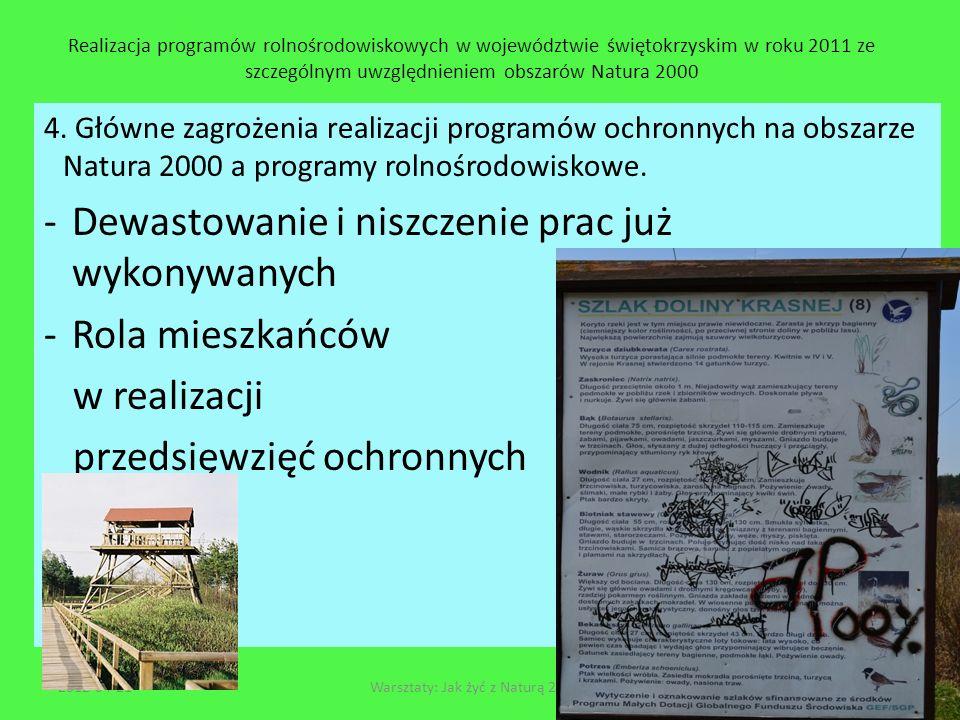 Realizacja programów rolnośrodowiskowych w województwie świętokrzyskim w roku 2011 ze szczególnym uwzględnieniem obszarów Natura 2000 4. Główne zagroż
