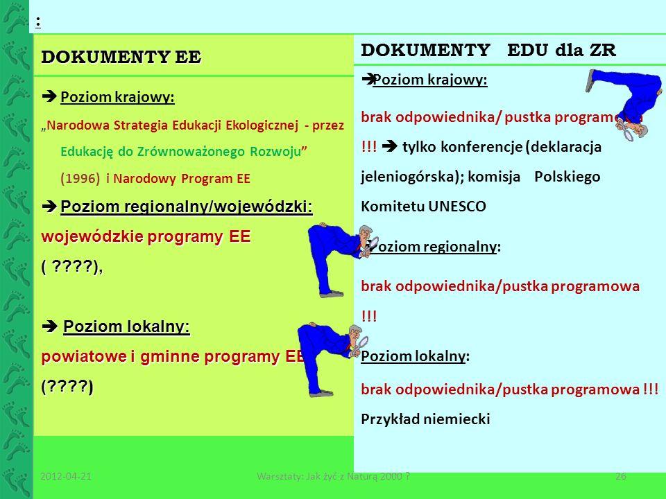 DOKUMENTY EE : DOKUMENTY EDU dla ZR Poziom krajowy: brak odpowiednika/ pustka programowa !!! tylko konferencje (deklaracja jeleniogórska); komisja Pol