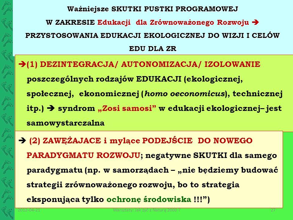 Ważniejsze SKUTKI PUSTKI PROGRAMOWEJ W ZAKRESIE Edukacji dla Zrównoważonego Rozwoju PRZYSTOSOWANIA EDUKACJI EKOLOGICZNEJ DO WIZJI I CELÓW EDU DLA ZR (