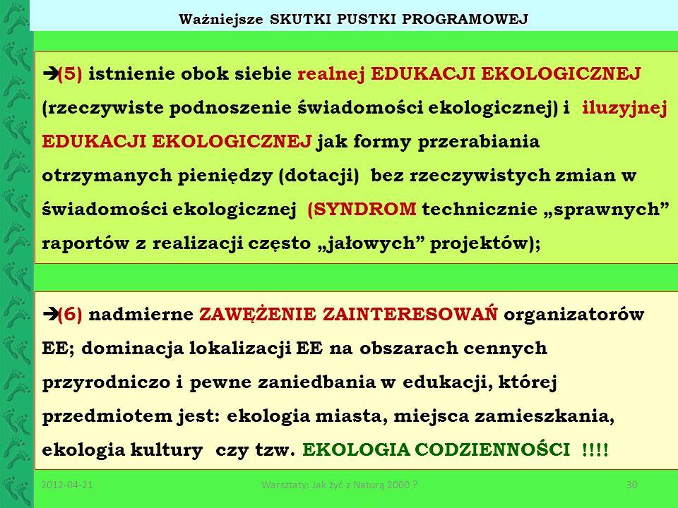 Ważniejsze SKUTKI PUSTKI PROGRAMOWEJ (5) istnienie obok siebie realnej EDUKACJI EKOLOGICZNEJ (rzeczywiste podnoszenie świadomości ekologicznej) i iluz