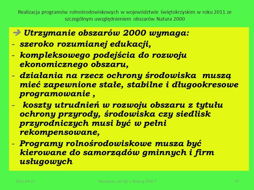 Realizacja programów rolnośrodowiskowych w województwie świętokrzyskim w roku 2011 ze szczególnym uwzględnieniem obszarów Natura 2000 Utrzymanie obsza
