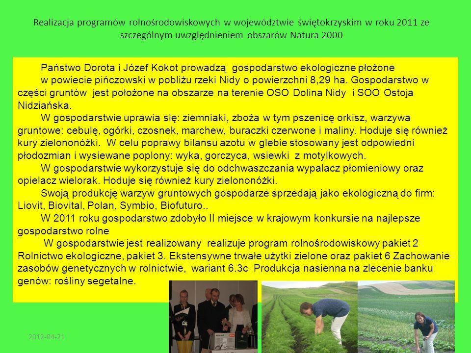 Realizacja programów rolnośrodowiskowych w województwie świętokrzyskim w roku 2011 ze szczególnym uwzględnieniem obszarów Natura 2000 2012-04-2138Wars