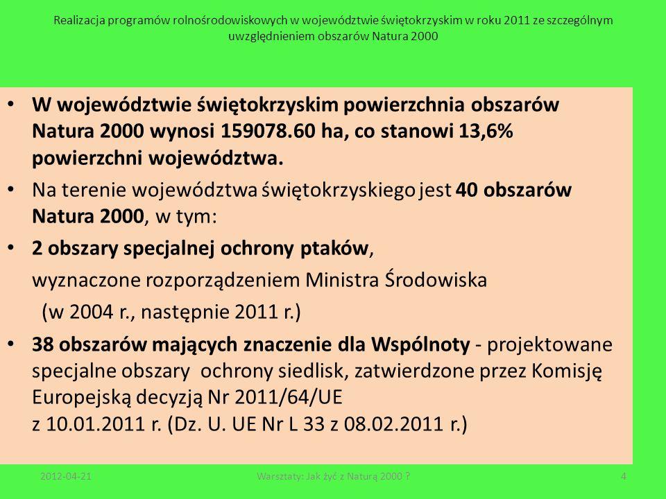 Realizacja programów rolnośrodowiskowych w województwie świętokrzyskim w roku 2011 ze szczególnym uwzględnieniem obszarów Natura 2000 2012-04-2115Warsztaty: Jak żyć z Naturą 2000 .