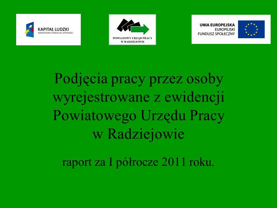 Podjęcia pracy subsydiowanej w I półroczu 2011 roku na podstawie stosunku pracy według wielkich grup zawodowych.
