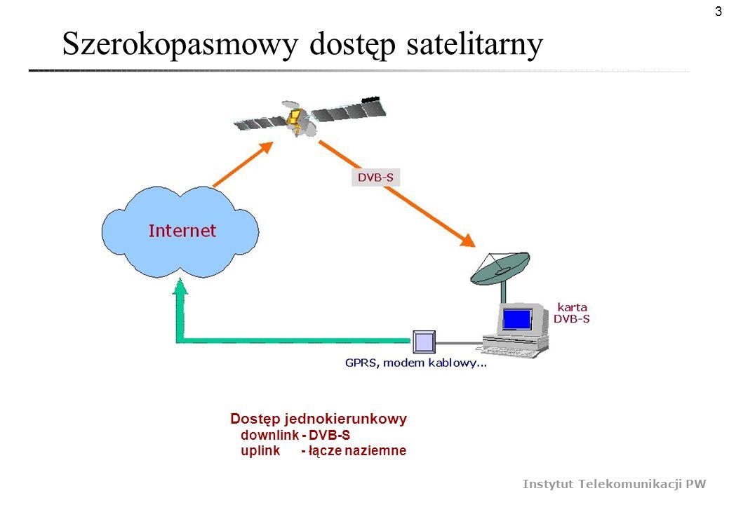 3 Instytut Telekomunikacji PW Szerokopasmowy dostęp satelitarny Dostęp jednokierunkowy downlink - DVB-S uplink - łącze naziemne