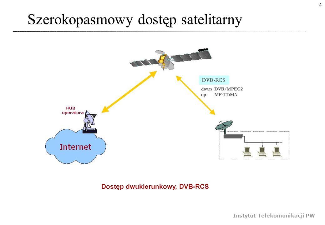 4 Instytut Telekomunikacji PW Szerokopasmowy dostęp satelitarny Dostęp dwukierunkowy, DVB-RCS