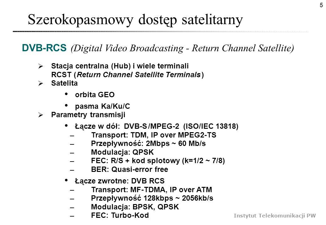 5 Instytut Telekomunikacji PW Szerokopasmowy dostęp satelitarny Stacja centralna (Hub) i wiele terminali RCST ( Return Channel Satellite Terminals ) S