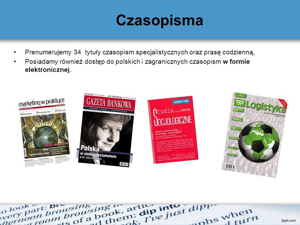 Czasopisma Prenumerujemy 34 tytuły czasopism specjalistycznych oraz prasę codzienną, Posiadamy również dostęp do polskich i zagranicznych czasopism w