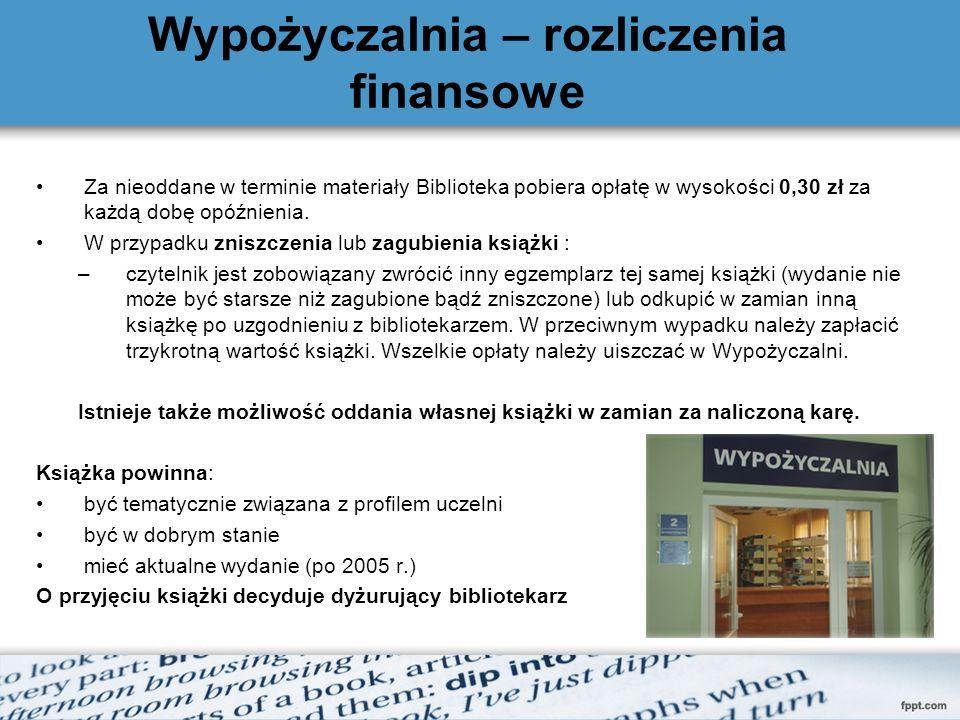 Wypożyczalnia – rozliczenia finansowe Za nieoddane w terminie materiały Biblioteka pobiera opłatę w wysokości 0,30 zł za każdą dobę opóźnienia.