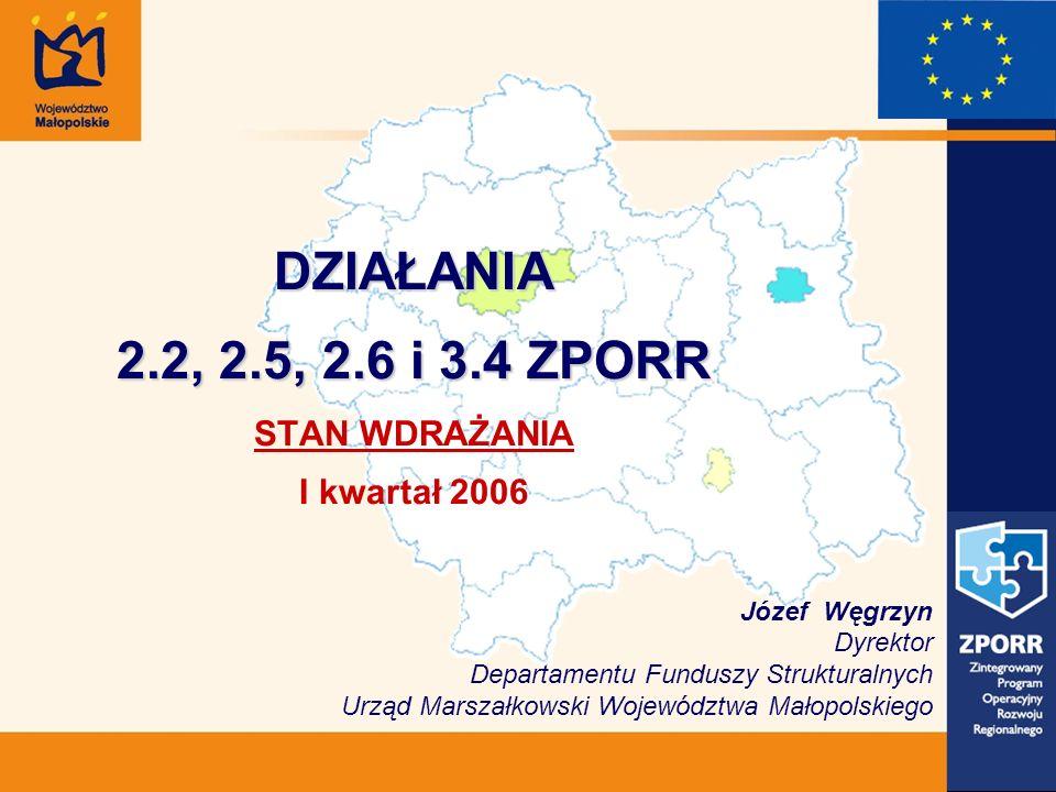 DZIAŁANIA 2.2, 2.5, 2.6 i 3.4 ZPORR DZIAŁANIA 2.2, 2.5, 2.6 i 3.4 ZPORR STAN WDRAŻANIA I kwartał 2006 Józef Węgrzyn Dyrektor Departamentu Funduszy Strukturalnych Urząd Marszałkowski Województwa Małopolskiego