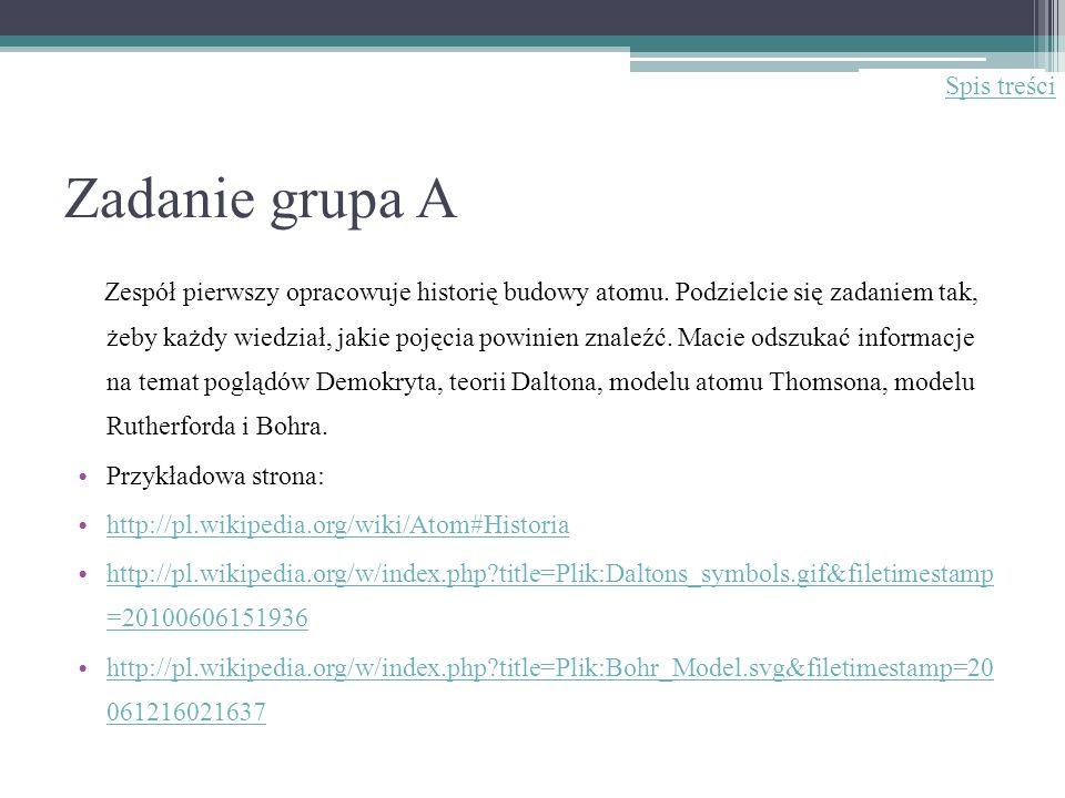 Zadanie grupa A Zespół pierwszy opracowuje historię budowy atomu. Podzielcie się zadaniem tak, żeby każdy wiedział, jakie pojęcia powinien znaleźć. Ma