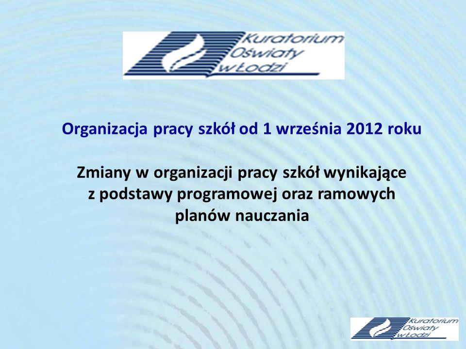 Organizacja pracy szkół od 1 września 2012 roku Zmiany w organizacji pracy szkół wynikające z podstawy programowej oraz ramowych planów nauczania