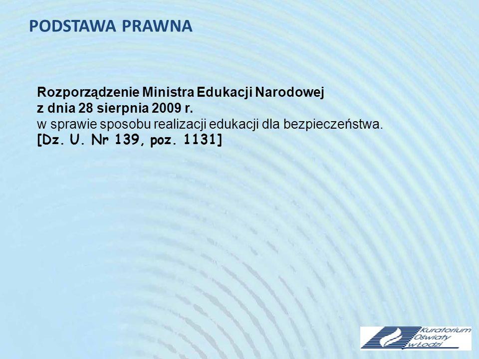 PODSTAWA PRAWNA Rozporządzenie Ministra Edukacji Narodowej z dnia 28 sierpnia 2009 r.