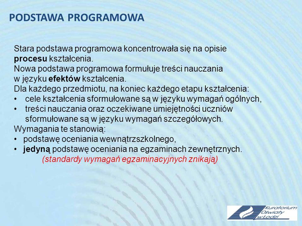 Stara podstawa programowa koncentrowała się na opisie procesu kształcenia.