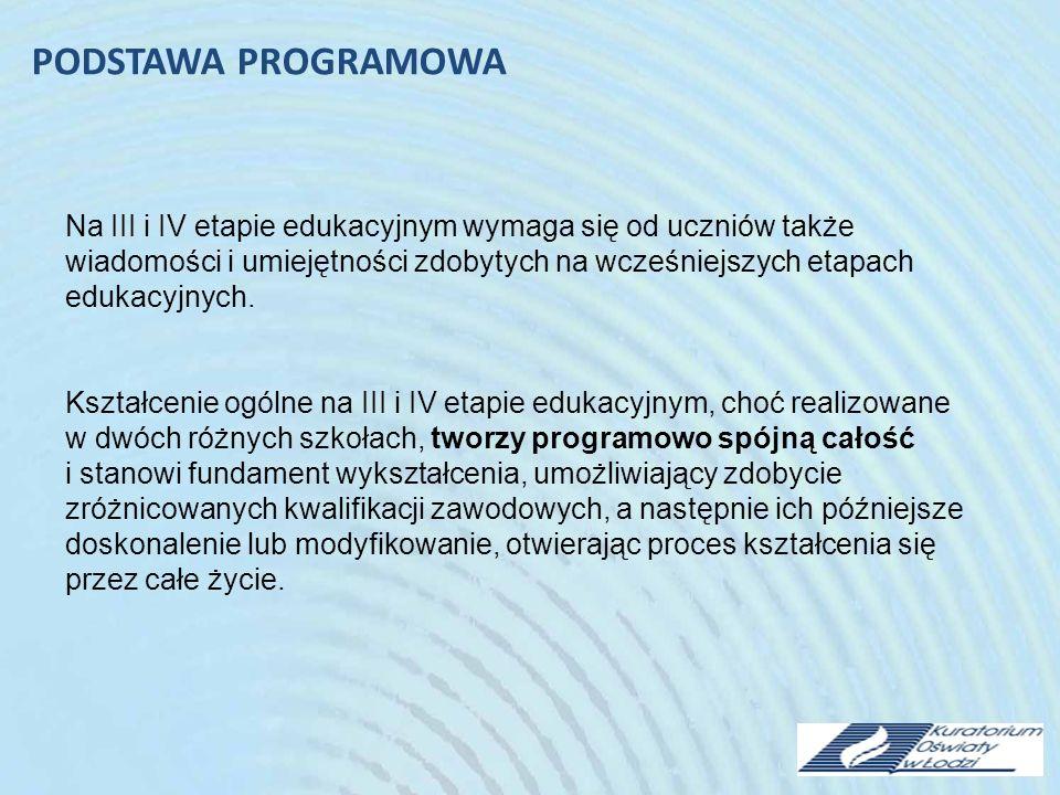 Na III i IV etapie edukacyjnym wymaga się od uczniów także wiadomości i umiejętności zdobytych na wcześniejszych etapach edukacyjnych.