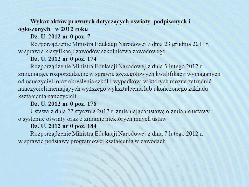 Wykaz aktów prawnych dotyczących oświaty podpisanych i ogłoszonych w 2012 roku Dz.