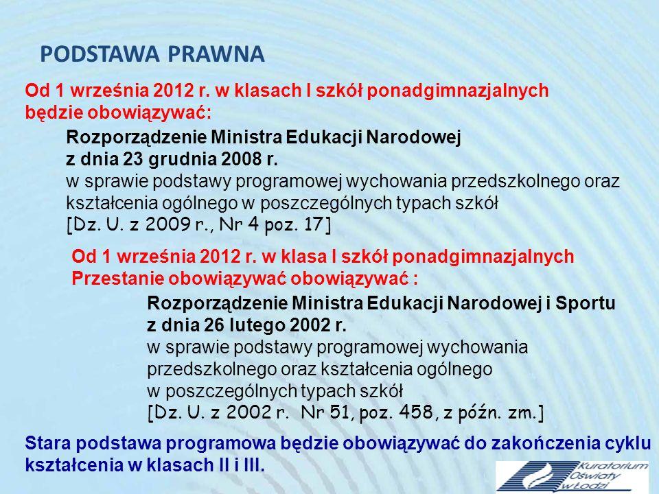 PODSTAWA PRAWNA Nowa podstawa programowa kształcenia ogólnego obowiązuje od: 1 września 2009 r.