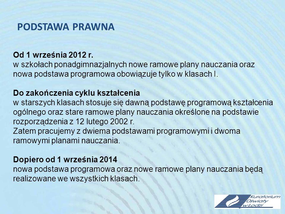 PODSTAWA PRAWNA Od 1 września 2012 r.