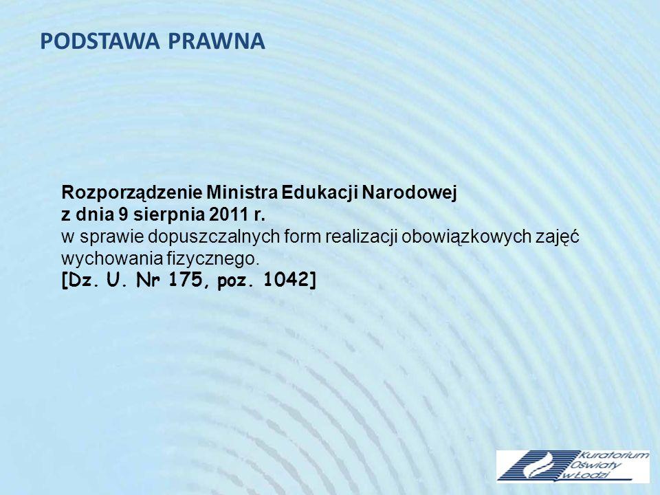 PODSTAWA PRAWNA Rozporządzenie Ministra Edukacji Narodowej z dnia 9 sierpnia 2011 r.
